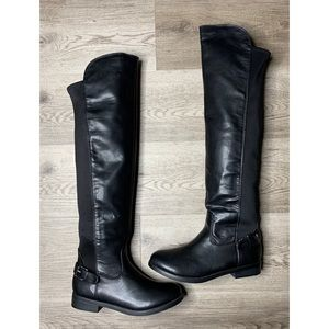 Report Knee High Pull Up Leather Boots Sz 7
